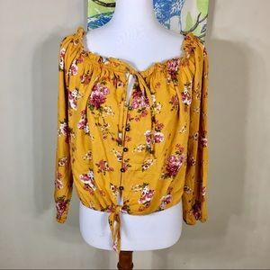 Xhilaration floral button down waist tie top NWT